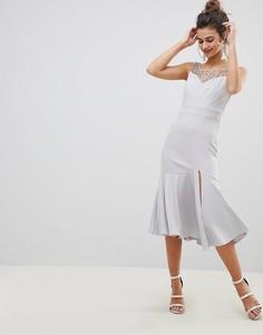 Платье миди с искусственным жемчугом Little Mistress - Серый