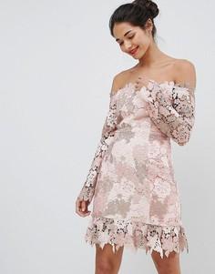 Платье мини с кружевом и спущенными плечами Elliatt - Розовый