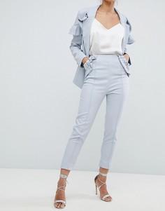 Укороченные строгие брюки с оборками Elliatt - Синий