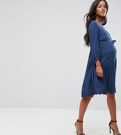 Платье с баской Mamalicious - Синий Mama.Licious