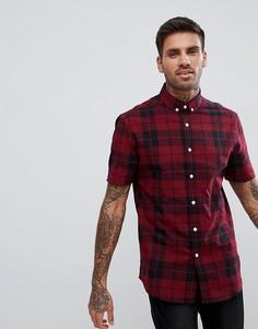 Красная эластичная облегающая рубашка в клетку ASOS DESIGN - Красный