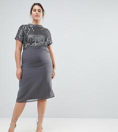 Декорированное платье-футляр Lovedrobe Luxe - Синий
