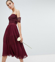 Премиум-платье миди с кружевными вставками ASOS DESIGN Tall Bridesmaid - Красный