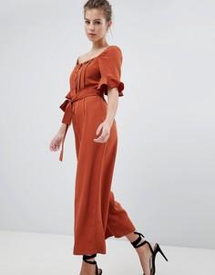 Выбеленный атласный комбинезон в винтажном стиле ASOS DESIGN - Оранжевый