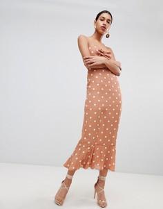 Платье макси с винтажным принтом в горошек и завязкой на спине Fashion Union - Оранжевый
