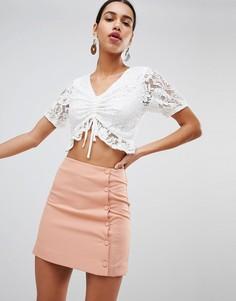 Мини-юбка с пуговицами сбоку Fashion Union - Оранжевый