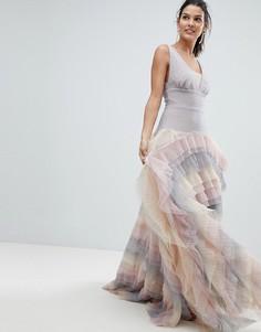 Платье макси с радужной юбкой из тюля Bronx and Banco - Мульти