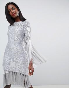 Платье с бахромой, декоративной отделкой и вырезом на спине ASOS EDITION - Серый