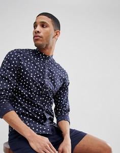 Зауженная рубашка с воротом на пуговице и принтом в горошек Jack & Jones Premium - Темно-синий