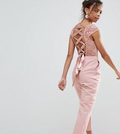 Комбинезон с кружевным верхом и решеткой из лямок сзади ASOS PETITE - Розовый