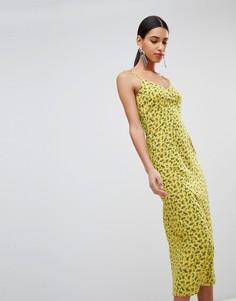 Платье-комбинация миди с цветочным принтом Fashion Union - Желтый