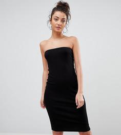 Облегающее платье-бандо миди в рубчик ASOS TALL - Черный