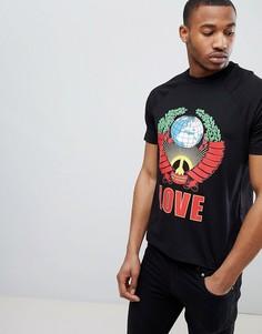 Черная футболка с принтом Love Moschino - Черный