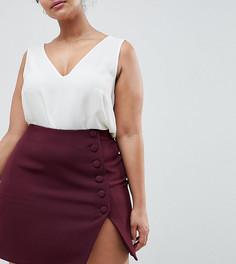 Мини-юбка с пуговицами сбоку и разрезом ASOS DESIGN Curve - Красный
