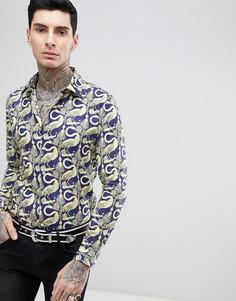 Узкая рубашка с длинными рукавами и принтом пеликанов Devils Advocate - Темно-синий