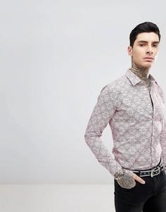 Приталенная рубашка с длинными рукавами и мозаичным принтом Devils Advocate - Красный