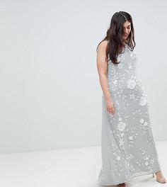 Декорированное платье макси с высоким воротом Frock And Frill Plus Premium - Серый