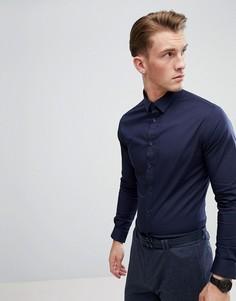 Темно-синяя приталенная рубашка с длинными рукавами Celio - Темно-синий