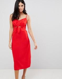 Платье миди с бантом Ax Paris - Красный
