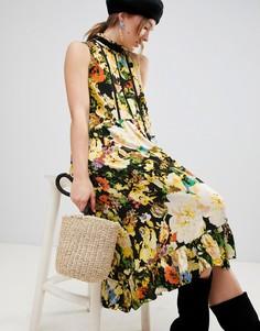 Платье миди с цветочным принтом mByM Dark - Черный