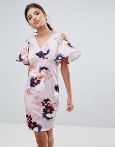 Платье с цветочным принтом и оборками на рукавах Girls on Film - Мульти