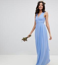 Платье макси с запахом и поясом TFNC Tall - Синий