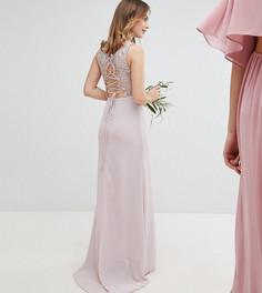 Платье макси со шнуровкой на спине TFNC Petite - Коричневый