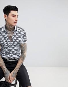 Рубашка узкого кроя с короткими рукавами и геометрическим принтом Devils Advocate - Синий