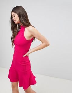 Платье миди с оборкой Ax Paris - Розовый
