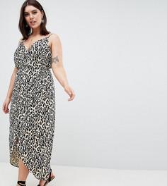 Платье макси с запахом и леопардовым принтом ASOS DESIGN Curve - Мульти