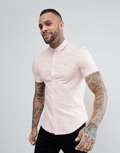 Розовая приталенная оксфордская рубашка с короткими рукавами Farah Brewer - Розовый