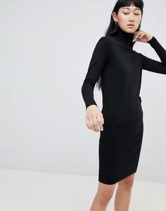 Платье-джемпер с отворачивающимся воротником b.Young - Черный