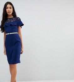 Платье-футляр с кружевной вставкой, оборкой и поясом Paper Dolls Tall - Темно-синий