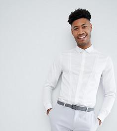 Сатиновая облегающая рубашка с двойными манжетами ASOS DESIGN Tall - Белый