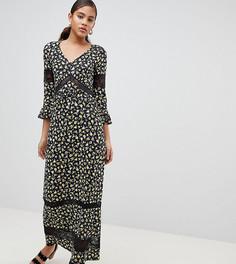 Чайное платье макси с цветочным принтом и кружевными вставками ASOS DESIGN Tall - Мульти