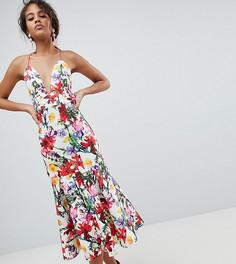 Платье для выпускного с заниженной талией и цветочным принтом ASOS DESIGN Tall - Мульти