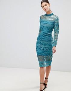 Кружевное облегающее платье Forever Unique - Зеленый