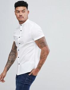 Белая облегающая рубашка с воротником на пуговице ASOS DESIGN - Белый