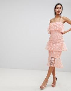 Платье-футляр миди с цветочной вышивкой 3D ASOS DESIGN - Розовый