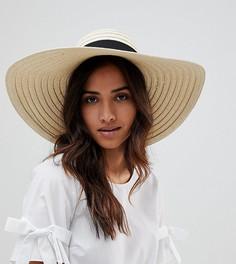 Большая соломенная шляпа с бантом South Beach - Бежевый