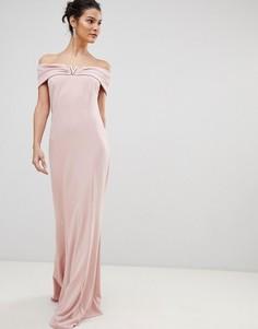 Платье макси с широким вырезом City Goddess - Розовый