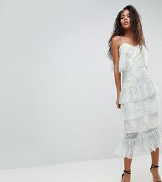 Кружевное платье миди с открытыми плечами и оборками ASOS DESIGN Tall - Мульти