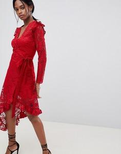 Кружевное платье с запахом и асимметричным краем ASOS DESIGN - Красный