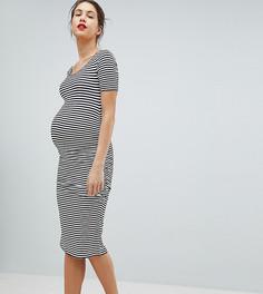 Трикотажное платье-футболка миди в полоску Isabella Oliver - Темно-синий
