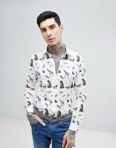 Рубашка узкого кроя с длинными рукавами и принтом Devils Advocate - Белый