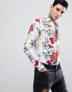 Рубашка узкого кроя с длинными рукавами и цветочным принтом Devils Advocate - Белый