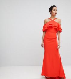 Оверсайз-платье макси с оборками Jarlo - Оранжевый