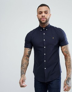 Темно-синяя приталенная оксфордская рубашка с короткими рукавами Farah Brewer - Темно-синий