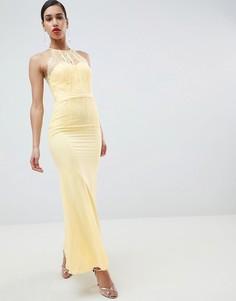 Кружевное панельное платье макси Little Mistress - Желтый