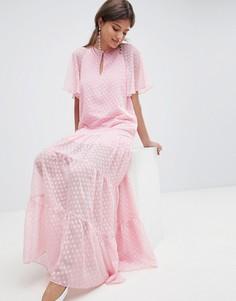 Шифоновое платье макси в горошек Traffic People - Розовый